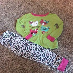"Green Pink Leopard ""Cat Face"" Long Sleeve PJs"